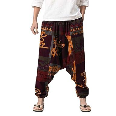 Solike Pantalon Sarouel pour Homme Casual Jogging Hip Hop Danse Pantalon de  Survetement Pantalons de Sport Baggy Boho Pants Rétro Gypsy Pants  Amazon.fr