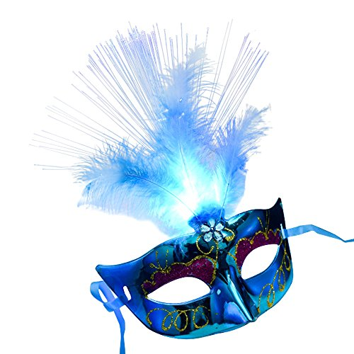 (Clearance Sale Halloween Mask,Vanvler Women Venetian LED Fiber Mask Masquerade Fancy Dress Party Princess Feather Masks (Blue))
