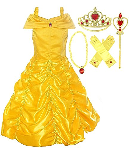 Romy's Collection Princess Belle Yellow Party Costume Dress-Up Set (Yellow 3, 7-8) (Three Girl Costumes)