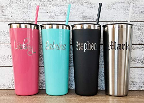 Laser Engraved Personalized 22 oz Stainless Steel Tumbler - Includes Straw and Lid - Vacuum Insulated - Bride, Groom, Party, Birthday, Father