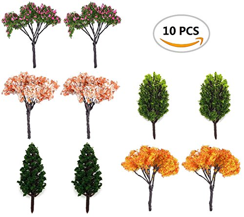 Garden Fairy Doll (BeautyMood 10Pcs Miniature Fairy Garden Tree Plant Ornamentm, Miniature Dollhouse Pots Decor Moss Bonsai Micro Landscape DIY Craft Garden Ornament)