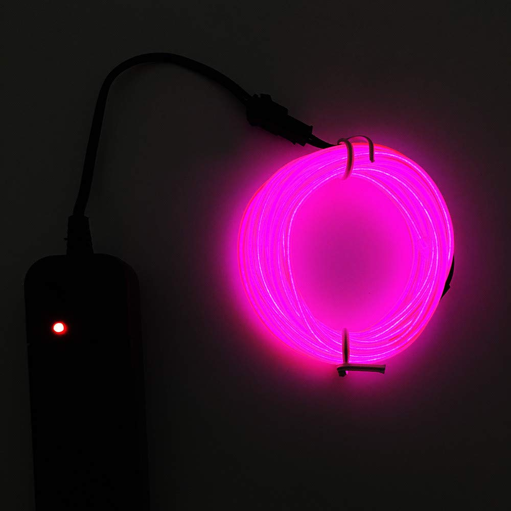 Tpingfe Flexible LED Light EL Wire String Strip Rope Glow Decor Neon Lamp USB Controller (D)