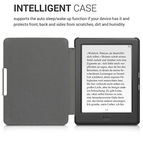kwmobile Case Compatible with Kobo Glo HD/Touch 2.0 - PU e-Reader Cover - Floral Bird Tree Orange/Brown/Beige