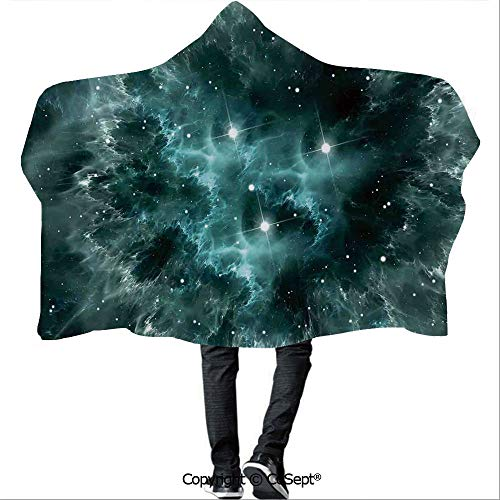 SCOCICI Wearable Hooded Blanket,Space Nebula in The Space with Crystal Star Cluster Galaxy Solar System Cosmos Print,Unisex All Ages One Size Fits All(59.05x43.30 inch),Teal