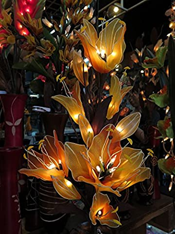Lily Artificial Flowers Lamps, Vase/floor/table Lamps, Night Light, Wedding Lighting, Home Decor, Gift, Made By Nylon, Paper, Fabric, 20 Light Bulbs, 33 - Thai Natural