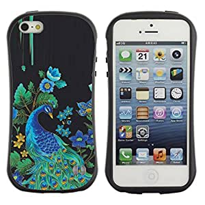 LASTONE PHONE CASE / Suave Silicona Caso Carcasa de Caucho Funda para Apple Iphone 5 / 5S / Peacock Bird Floral Rye Feathers Blue