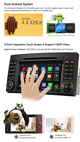 Pumpkin Quad Core 7 inch Android 4 4 Double Din Car Stereo