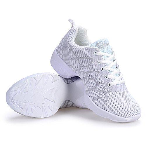 Yuanli Frauen Mesh Ballroom Tanzschuhe Leichte Jazz Schuhe Weiß57