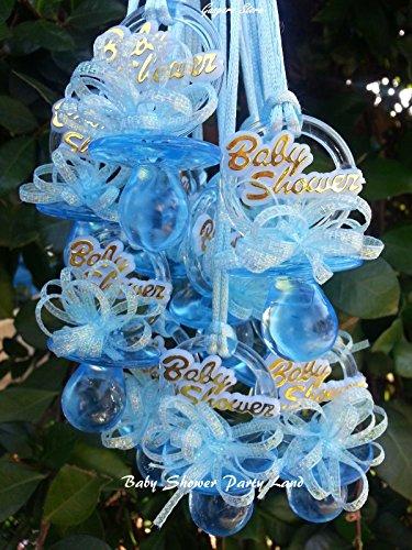 Pacifier Necklaces Baby Shower Games Favors Prizes 12 BLUE or 12 PINK, YOU PICK!!. Boy's, Girl's . (BLUE)