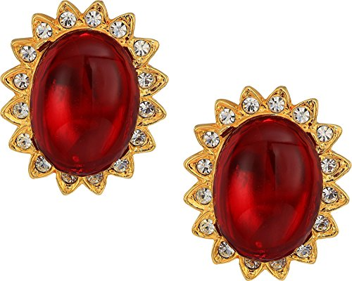 Kenneth Jay Lane Women's Gold with Crystal Trim Ruby Cabochon Center Clip Earrings Ruby Cabochon One Size