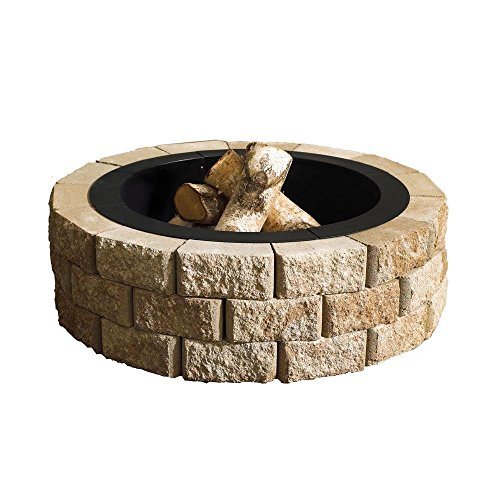 Patio Fire Pit Kit 40 in. Round Wood Burning Type Concrete Stone Construction, Sand Finish