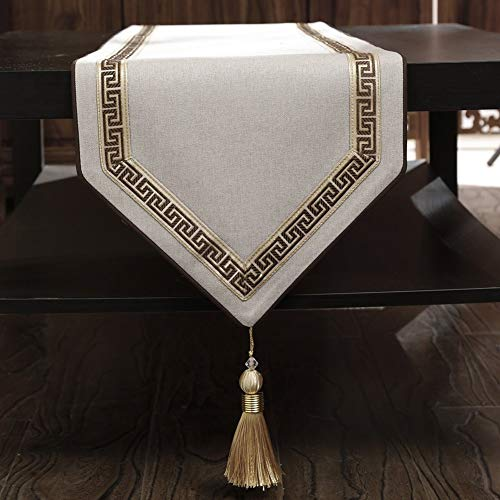 (Table Runner Simple Table Runner Cotton and Linen Dining Table TV Cabinet Retro Tassel Hanging Spike Design (Size : 33x260cm) )