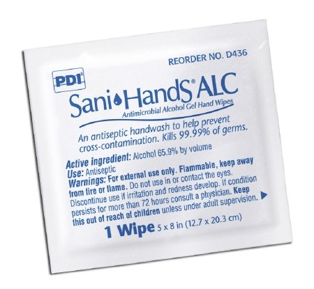 PDI Sani-Hands Instant Hand Sanitizing Wipes, 8 x 5.3 Inch, D43600 (Case of 1000) by Professional Disposables International
