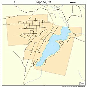 Large Street & Road Map of Laporte, Pennsylvania PA - Printed poster