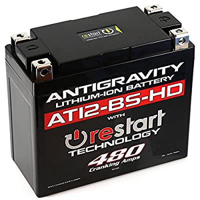 Antigravity AT12BS-HD-RS Lithium Ion Battery with BMS and Re-Start Technology - 480cca 2.95 Pounds 16Ah Lightweight Motorcycle Battery - Replaces YT12BS - YT12b-BS - YT14-BS - YT14B-BS - MADE IN THE U