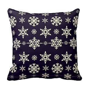Romantichouse Cotton Linen Square Decorative Navy Blue And White Snowflake Christmas Pillowcase