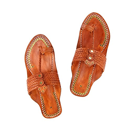 Six Color Chappal Slipper Designer's Men Original Sandal Kolhapuri Rivets Golden Tan Braided Outstanding qTx0I0Hw