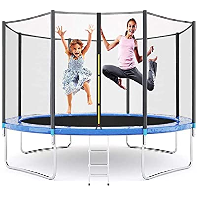 Manve 16FT Trampoline for Kids, Jumping Mat and Spring Cover Padding Outdoor Trampolin,Ladder Trampoline with Safety Enclosure Net : Sports & Outdoors