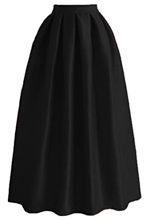 2c363872e6 Omelas Women Pleated Maxi Skirt Satin Skirts High Waisted Long at ...