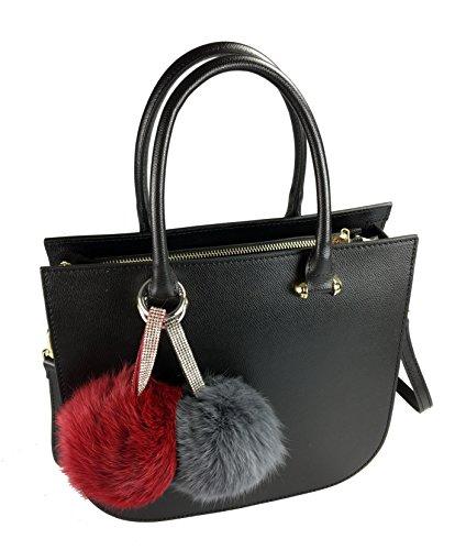 IndiStyle.berlin Echt Leder Handtasche mit Trageriemen, schwarz, mit Fellapplikation (abnehmbar) und Straß, ca. 30x26x12cm, Metall in gold