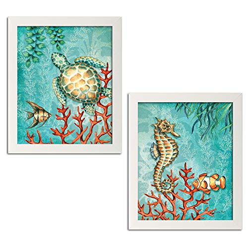 Gango Home Decor Sea Life Turquoise and Orange Under The Ocean Fish Turtle Seahorse and Coral; Coastal Décor; Two 11x14 White Framed Prints. Teal/Orange