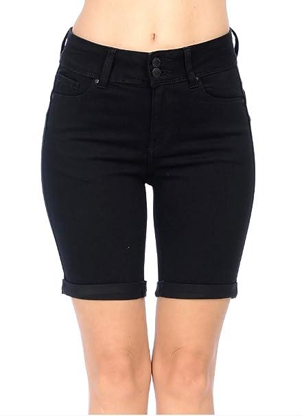 886d68e674 Wax Jeans Women's Juniors High Rise Push-Up 2 Button Bermuda Denim True  Stretch Shorts