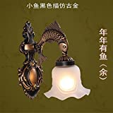 2PCS Fish Alloy European single aisle wall lamp white American retro mirror lamp Nordic Mediterranean bedroom bedside lamp FG478 ( Size : Style A white )