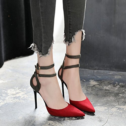 Baotou MOM bandage sandals female Summer with sexy colour matching high word red buckle fine heels pointed 00x8rw5qU
