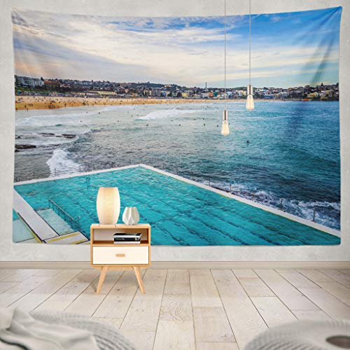 KJONG Beach Landscape and Swimming Pool Australia Beach Australia Australian Blue Sky Beach City Club Coast Decorative Tapestry,60X60 Inches Wall Hanging Tapestry for Bedroom Living Room