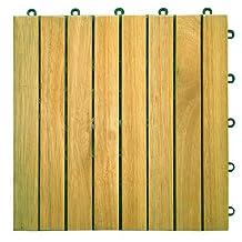 Vifah V355 Interlocking Acacia Plantation Hardwood Deck Tile 8-Slat Design, Teak Finish, 11 by 11 by 1-Inch