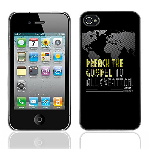 DREAMCASE Citation de Bible Coque de Protection Image Rigide Etui solide Housse T¨¦l¨¦phone Case Pour APPLE IPHONE 4 / 4S - MARK 16:15 PREACH THE GOSPEL TO ALL CREATION