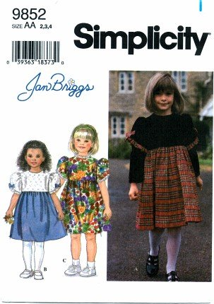 Simplicity 9852 Sewing Pattern Girls Jand Briggs Dress Size 2 - 4