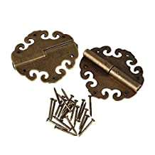 Vintage Bronze 40x40mm Iron Suitcase Chest Hinges Pack of 2