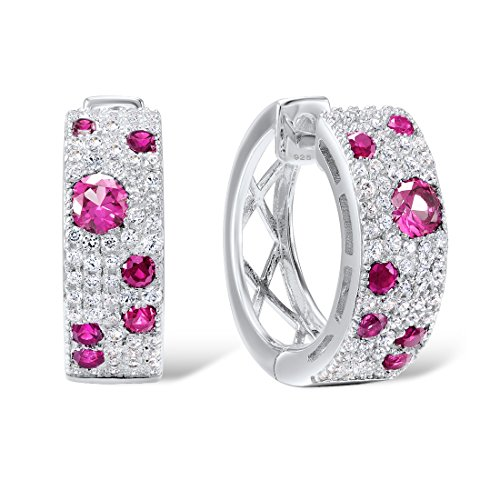 Santuzza 925 Sterling Silver Created Ruby Huggie Loop Earring CZ Stones