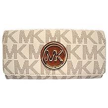 Michael Kors Women's Fulton Signature Long Continental Clutch Wallet Vanilla/Acorn