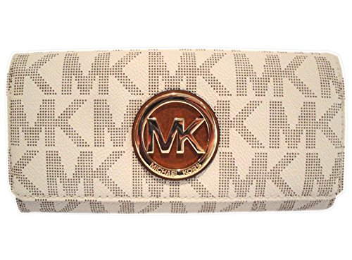 Michael Kors Women's Fulton Signature Long Continental Clutch Wallet Vanilla/Acorn