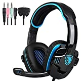 SADES SA708GT 3.5mm Wired Over Ear Stereo Gaming Headset with Mic Noise Isolating for PS4 PC MAC Phones Tablet in Black Blue