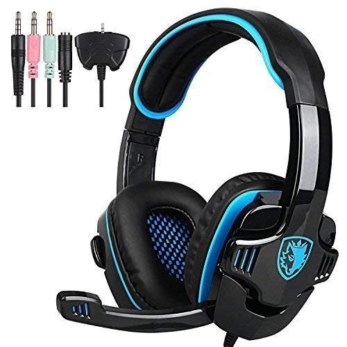 SADES SA708GT 3.5mm Wired Over Ear Stereo Gaming Headset with Mic Noise Isolating for PS4/ PC/MAC/Phones/Tablet in Black Blue