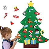 Felt Christmas Tree, 3ft DIY Christmas Tree Set with 26pcs Detachable Hanging Ornaments Wall Decor Kids Xmas Gifts for Home Door Christmas Decorations