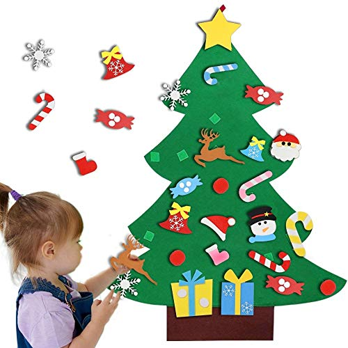 Enthur Felt Christmas Tree, 3ft DIY Christmas Tree Set with 26pcs Detachable Hanging Ornaments Wall Decor Kids Xmas Gifts for Home Door Christmas Decorations]()