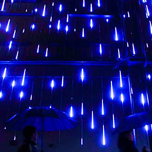 Sparkle Flyer Meteor Shower Rain Lights, Drop/Icicle Snow Falling Raindrop 11.8inches 8 tubes Waterproof Cascading lights for Wedding, Christmas, Tree, Party, Home Decor, etc (Blue)