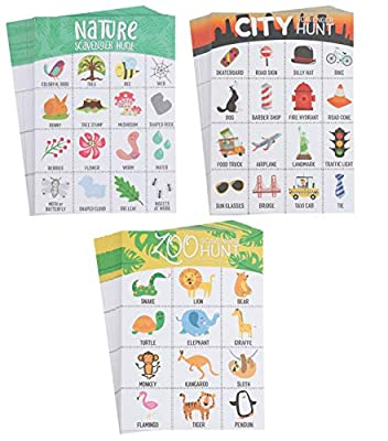 Scavenger Hunt for Kids - Scavenger Card Games with Assorted Themes, Road Trip, Nature, Zoo, Beach, City, 20 Sheets Each, Fun Outdoor Family Activity Game for All, Party Favors, 7 x 5 Inches