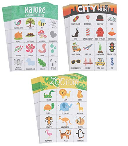 Scavenger Hunt Game - 150-Pack Scavenger Hunt Set for Kids, 3 Assorted Themes, Childrens Outdoor Game Cards, Spot up to 16 Items, Birthday Party Favors, Classroom Trips, Family Activity (Best Scavenger Hunt Items)