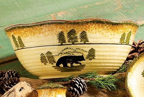 Black Bear Serving Cabin Serving Bowl - Wilderness Dining Tableware & Amazon.com | Black Bear Serving Cabin Serving Bowl - Wilderness ...