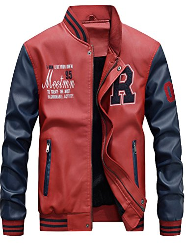 Mordenmiss Men's Basic Leather Letter Man Baseball Varsity Jacket Bomber Outwear Red 2XL ()