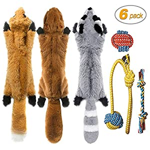 Peteast-3 Squeaky Toys and 3 Rope Dog Toys, No Stuffing Squeaky Plush Fox Raccoon Squirrel, Puppy Chew Teething Rope Toys Set for S/M/L Dogs Pets Animals 4