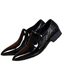 US Size 5-12 Black Textured Patent Leather Mens Dress Suit Slip On Loafer Shoes