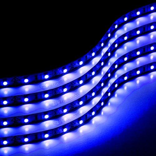 (Zone Tech 30cm Flexible Waterproof Blue Light Strips 4-Pack LED Car Flexible Waterproof Blue Light)