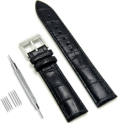 CIVO Genuine Leather Watch Bands Top Calf Grain Leather Watch Strap 18mm 20mm 22mm for Men and Women (Black, 18mm)