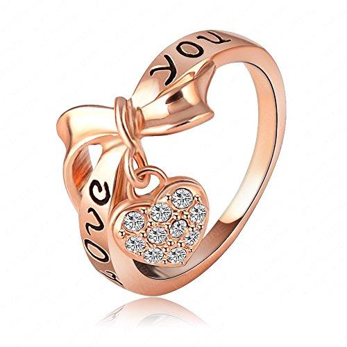 K-DESIGN LZESHINE Brand Black Enamel Love You Ring Heart Bow 18K Rose Gold Plate Austrian Crystal SWA Elements Rings Word Ring Ri-HQ1055